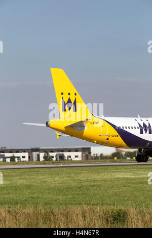 Monarch Airlines A320 Airbus aeroplane at Leeds Bradford Airport - Stock Photo