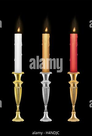 Candle holders with burning candle - Stock Photo