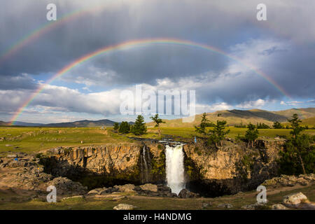 Double rainbow at Orkhon waterfall - Stock Photo