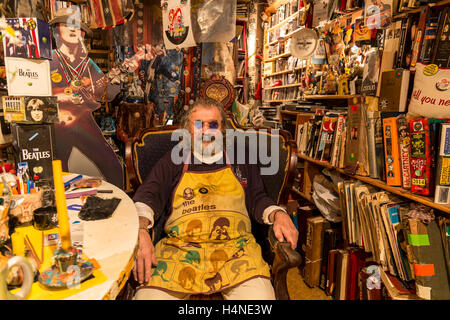 St. Petersburg, Russia. July 2015. Portrait of Nikolai Vasin, Russia's No.1 Beatles fan, in his studio in Pushkinskaya - Stock Photo