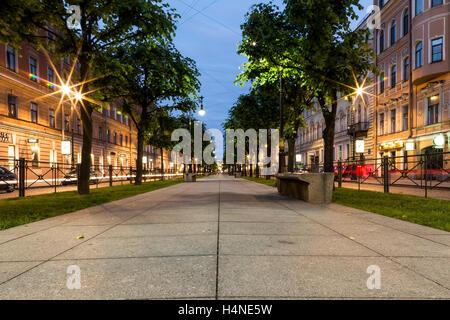 St. Petersburg, Russia. July 2015. Pedestrian street at night. - Stock Photo