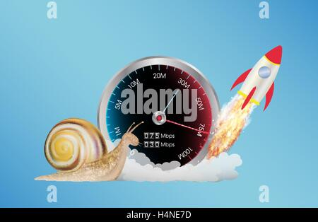 internet speed meter with rocket and snail - Stock Photo