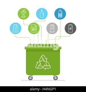 Illustration in modern flat linear style - recycle trash bins and cans - sorting and recycling different types of - Stock Photo