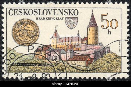 A postage stamp printed in Czechoslovakia, shows Castle Krivoklat , circa 1982 - Stock Photo