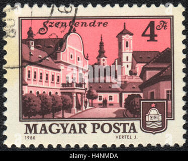 A postage stamp printed in Hungary shows medieval town Szentendre,  1980 - Stock Photo