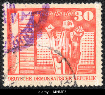A postage stamp printed in DDR Germany,  shows  Workers' Memorial, Halle,  1973 - Stock Photo