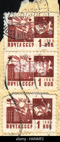 A postage stamp printed in USSR  shows Map of the USSR and the Kremlin, 1966 - Stock Photo