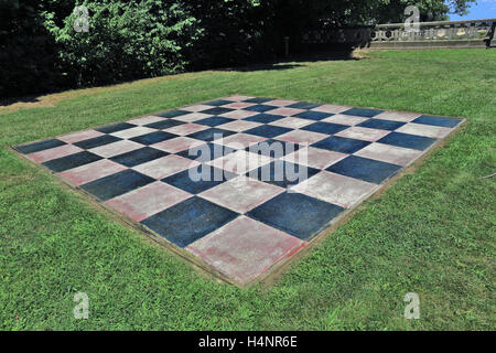Side lawn area of Hempstead House on the gold coast estate of Samuel Guggenheim Sands Point Long Island New York - Stock Photo