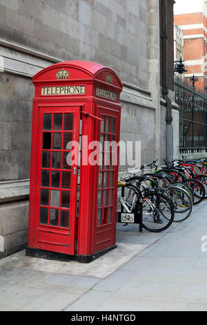 Telephone box in Bell Yard, off The Strand, London, UK - Stock Photo