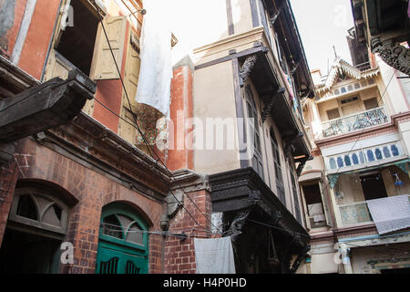 Architecture within old walled area of Ahmedabad city,Gujurat state,India South Asia. - Stock Photo