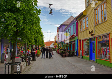 Øvre Holmegata, Stavanger's most colourfull street with shops, cafes and restaurants - Stock Photo