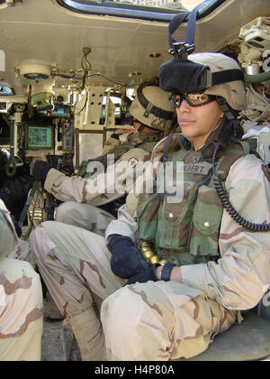 25th November 2004 U.S. Army soldiers of the 1st Battalion 24th Infantry inside a Stryker ICV at FOB Marez, Mosul, - Stock Photo
