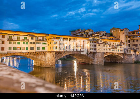 View at Bridge Ponte Vecchio in Florence, Italy by night - Stock Photo