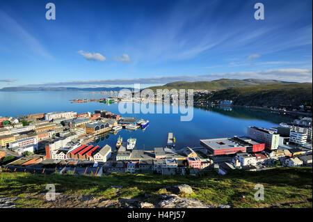 view of Hammerfest City, Finnmark, Norway - Stock Photo
