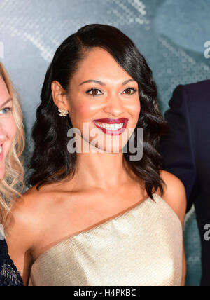 Cynthia Addai-Robinson attending the European premiere of The Accountant at Cineworld in Leicester Square, London. - Stock Photo