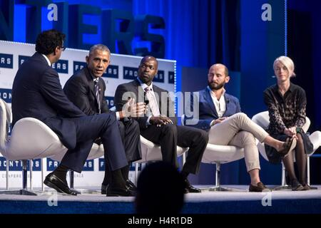 U.S President Barack Obama speaks on a panel during the the White House Frontiers Conference at Carnegie Mellon - Stock Photo