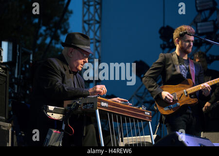 Merle Haggard performs at Riot Fest Chicago on September 12, 2015 in Chicago, Illinois - Stock Photo
