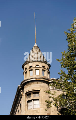 Tower of a French colonial building in Old Montreal, Quebec, Canada - Stock Photo