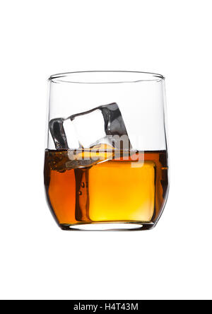 Glass of whiskey with ice cubes isolated on white background - Stock Photo