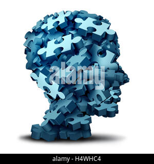 Psychology puzzle concept as a a group of 3D illustration jigsaw pieces shaped as a human head as a mental health - Stock Photo