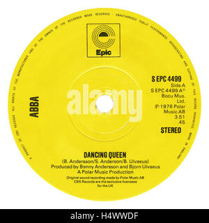 45 RPM 7' UK record label of Dancing Queen by ABBA on the Epic label from 1976 - Stock Photo