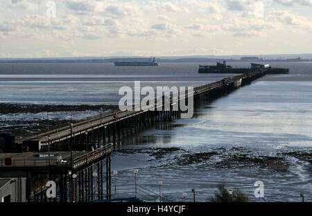 The longest pier in the world, Southend Pier, Southend on Sea, Essex, England - Stock Photo