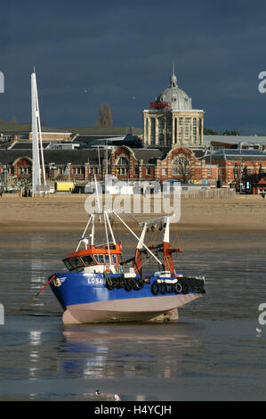 View from Southend Pier of seafront at low tide, Marine Parade, Southend on Sea, Essex, England - Stock Photo