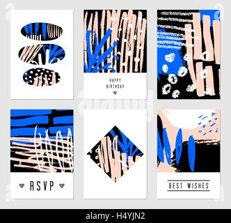 A set of six hand drawn abstract designs in black, white, blue and pastel pink. Modern and original greeting card, - Stock Photo