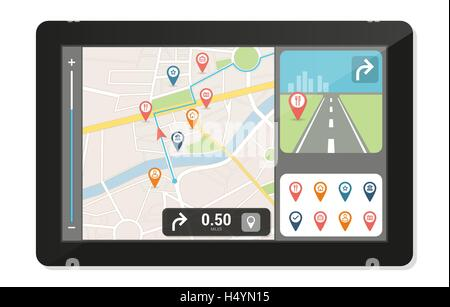Gps navigation device and city map with pins and icons, technology and travelling concept - Stock Photo