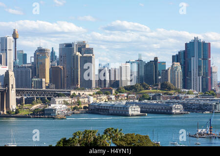 Looking north across north Sydney at Sydney city centre and the cityscape, New South Wales, Australia - Stock Photo