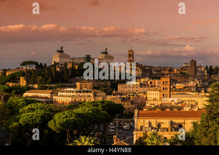 City skyline at sunset, Rome, Lazio, Italy - Stock Photo