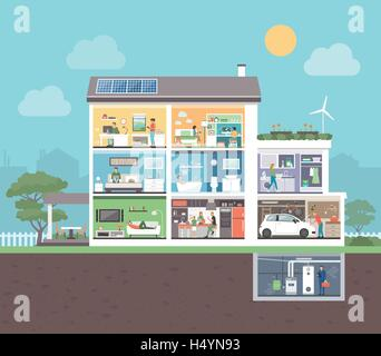 House cross section with room interiors and people, domestic lifestyle concept - Stock Photo