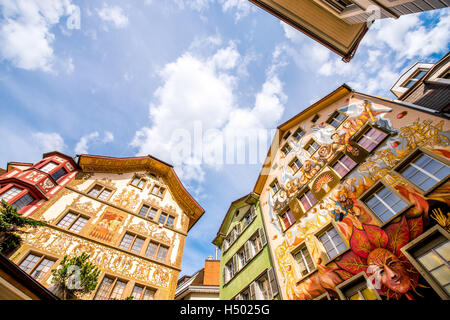 Painted houses in Lucerne city - Stock Photo