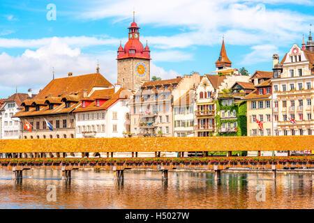 Lucerne city in Switzerland - Stock Photo