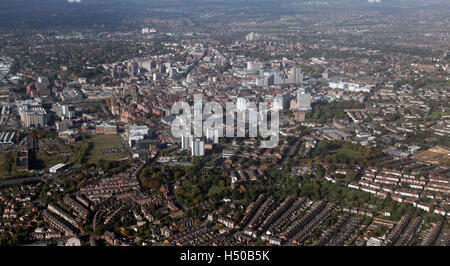 aerial view of the Nottingham city centre skyline, UK - Stock Photo