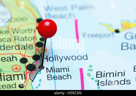 Miami pinned on a map of USA Stock Photo Royalty Free Image