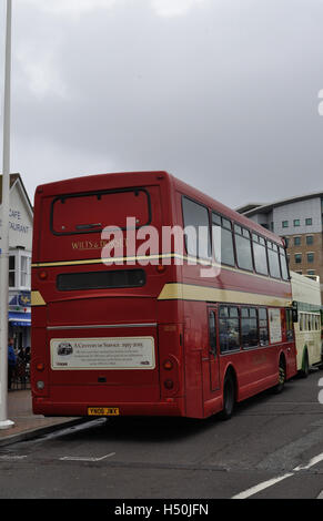 Hants & Dorset (now More Bus) celebrates its 100th anniversary on Poole Quay with a display of vintage buses and - Stock Photo