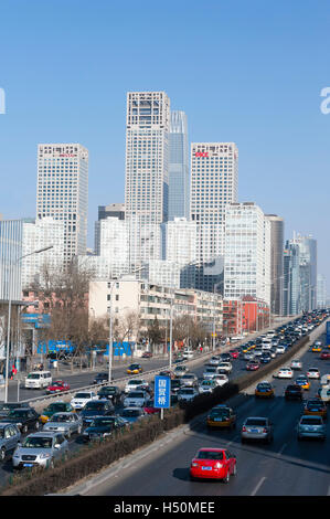 Skyline of Central Business District , CBD, in central Beijing China - Stock Photo