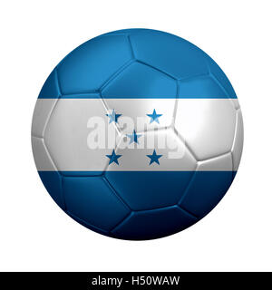 3D rendering of soccer ball wrapped in Honduras' national flag. Isolated on white background. - Stock Photo