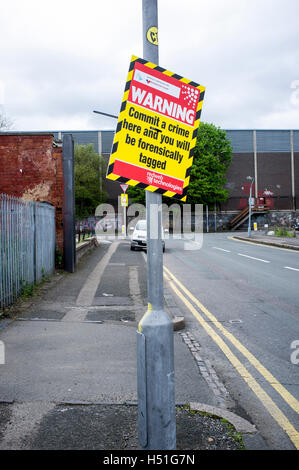 Street warning sign, forensic tagging if crime committed - Stock Photo