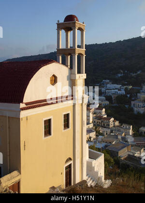 Agia Paraskevi church in Platanos, Leros Island, Greece - Stock Photo