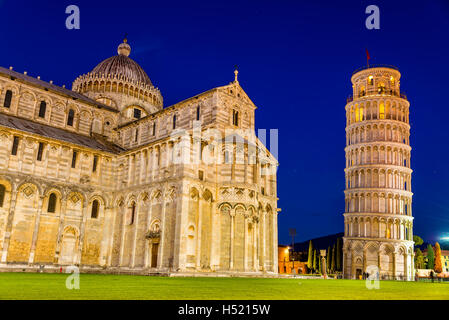 The Leaning Tower of Pisa and the Cathedral in the evening - Stock Photo
