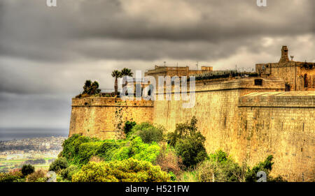Fortifications of the city of Mdina - Malta - Stock Photo
