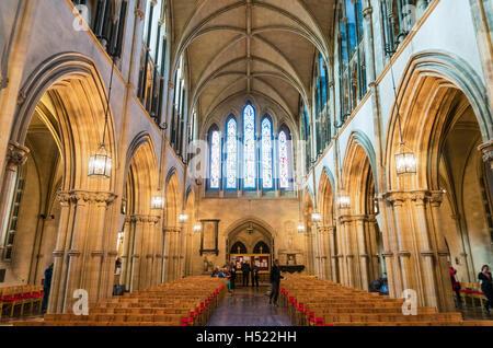 Interior of Christ church cathedral Dublin Ireland Europe EU - Stock Photo