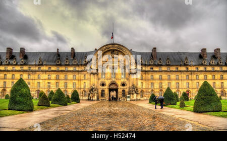 Facade of Les Invalides in Paris, France - Stock Photo