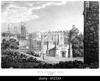 Engraving of The Ruins of Cowdrey (Cowdray) House, near Midhurst, Sussex scanned at high resolution from a book - Stock Photo