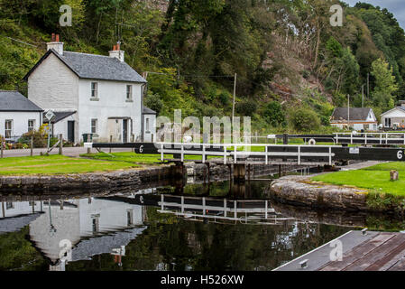 Lock gate at the village Cairnbaan situated on the Crinan Canal, Argyll and Bute, western Scotland - Stock Photo