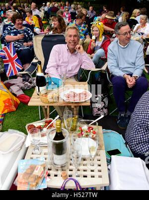 Audience members enjoying a picnic during the Last Night of the Proms. Alton Public Gardens, Alton, Hampshire, UK, - Stock Photo