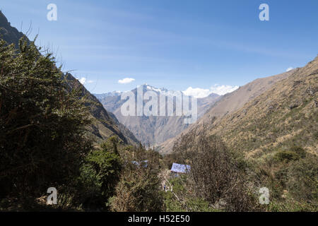 View looking down from Dead Woman's Pass on the Inca Trail in the Sacred Valley of Peru - Stock Photo