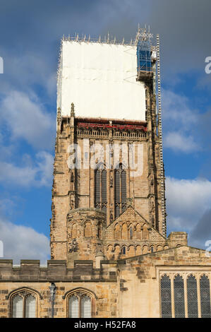 Restoration work being carried out on the tower of Durham Cathedral, Co. Durham, England, UK - Stock Photo